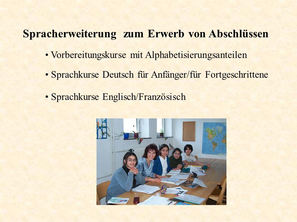 Spracherweiterung zum Erwerb von Abschlüssen Sprachkurse Deutsch für Anfänger/für Fortgeschrittene Vorbereitungskurse mit Alphabetisierungsanteilen Sp