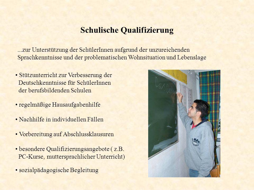 Schulische Qualifizierung...zur Unterstützung der SchülerInnen aufgrund der unzureichenden Sprachkenntnisse und der problematischen Wohnsituation und