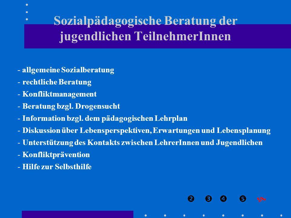 - allgemeine Sozialberatung - rechtliche Beratung - Konfliktmanagement - Beratung bzgl. Drogensucht - Information bzgl. dem pädagogischen Lehrplan - D