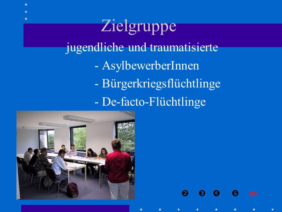 Zielgruppe jugendliche und traumatisierte - AsylbewerberInnen - Bürgerkriegsflüchtlinge - De-facto-Flüchtlinge