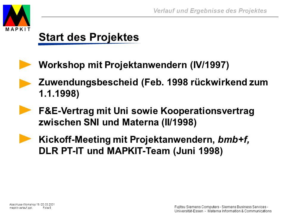 Fujitsu Siemens Computers - Siemens Business Services - Universität-Essen - Materna Information & Communications Verlauf und Ergebnisse des Projektes Abschluss-Workshop 19./20.03.2001 mapkit-verlauf.ppt, Folie 16 M A P K I T Geplanter Ablauf -> tatsächlicher Ablauf früher Beginn der Piloteinsätze; wechselnde Intensität; Feedback für A-Studie, Tool-Entwicklung und Umsetzung Ablauf des Projektes 1998 1999 2000 01 A-Studie 1.1 1.2 1.3 Organ.