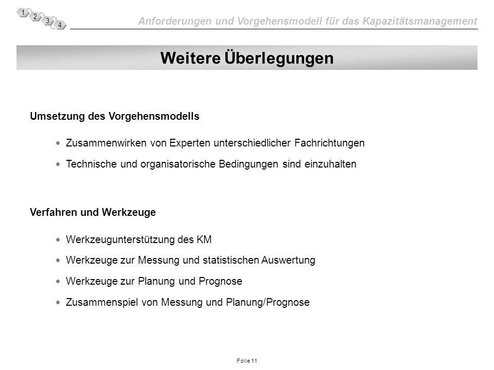 Anforderungen und Vorgehensmodell für das Kapazitätsmanagement 1 2 3 4 Folie 11 Weitere Überlegungen Umsetzung des Vorgehensmodells Zusammenwirken von