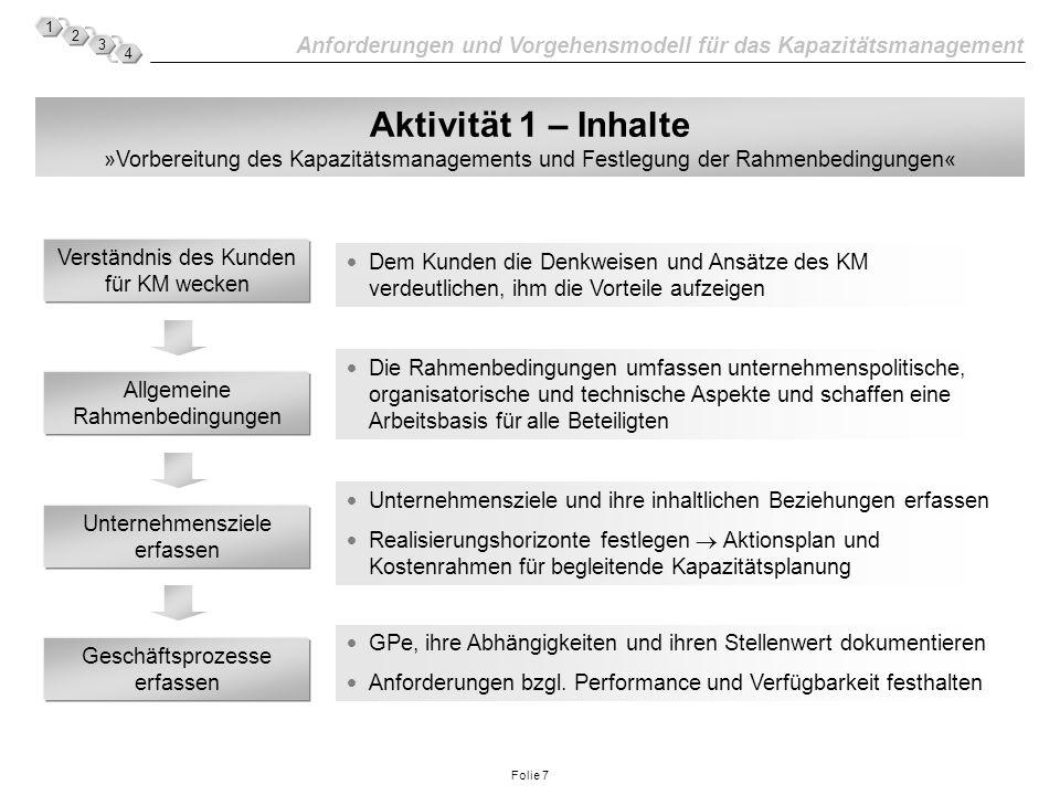 Anforderungen und Vorgehensmodell für das Kapazitätsmanagement 1 2 3 4 Folie 7 Aktivität 1 – Inhalte »Vorbereitung des Kapazitätsmanagements und Festl