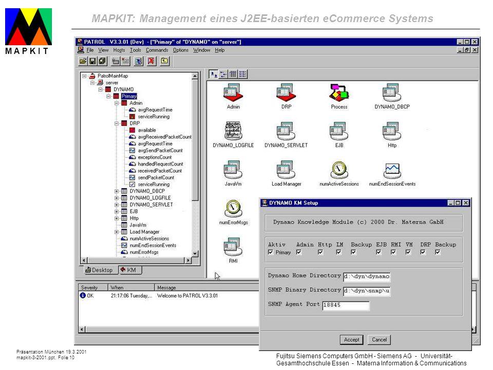 Fujitsu Siemens Computers GmbH - Siemens AG - Universität- Gesamthochschule Essen - Materna Information & Communications MAPKIT: Management eines J2EE-basierten eCommerce Systems Präsentation München 19.3.2001 mapkit-3-2001.ppt, Folie 10 M A P K I T