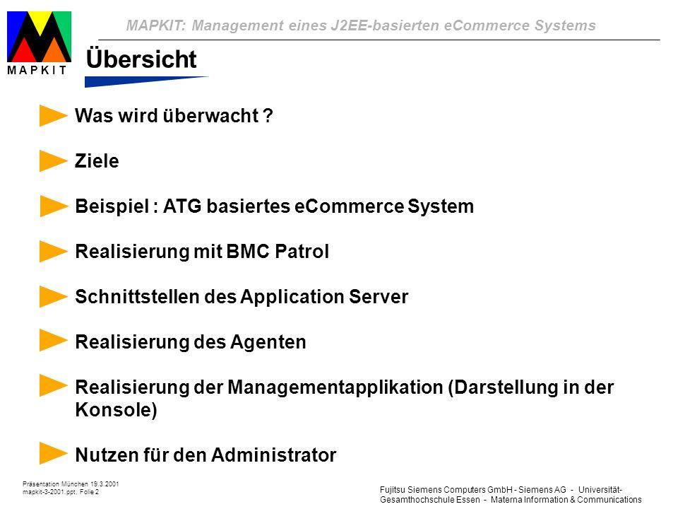 Fujitsu Siemens Computers GmbH - Siemens AG - Universität- Gesamthochschule Essen - Materna Information & Communications MAPKIT: Management eines J2EE-basierten eCommerce Systems Präsentation München 19.3.2001 mapkit-3-2001.ppt, Folie 2 M A P K I T Übersicht Was wird überwacht .