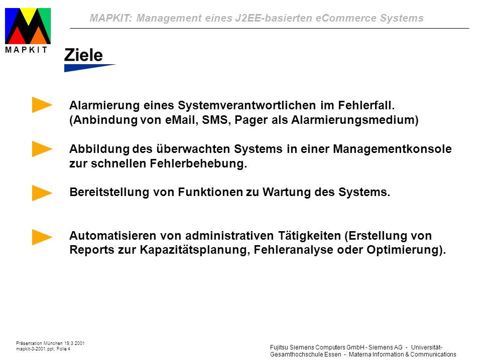 Fujitsu Siemens Computers GmbH - Siemens AG - Universität- Gesamthochschule Essen - Materna Information & Communications MAPKIT: Management eines J2EE-basierten eCommerce Systems Präsentation München 19.3.2001 mapkit-3-2001.ppt, Folie 4 M A P K I T Ziele Alarmierung eines Systemverantwortlichen im Fehlerfall.