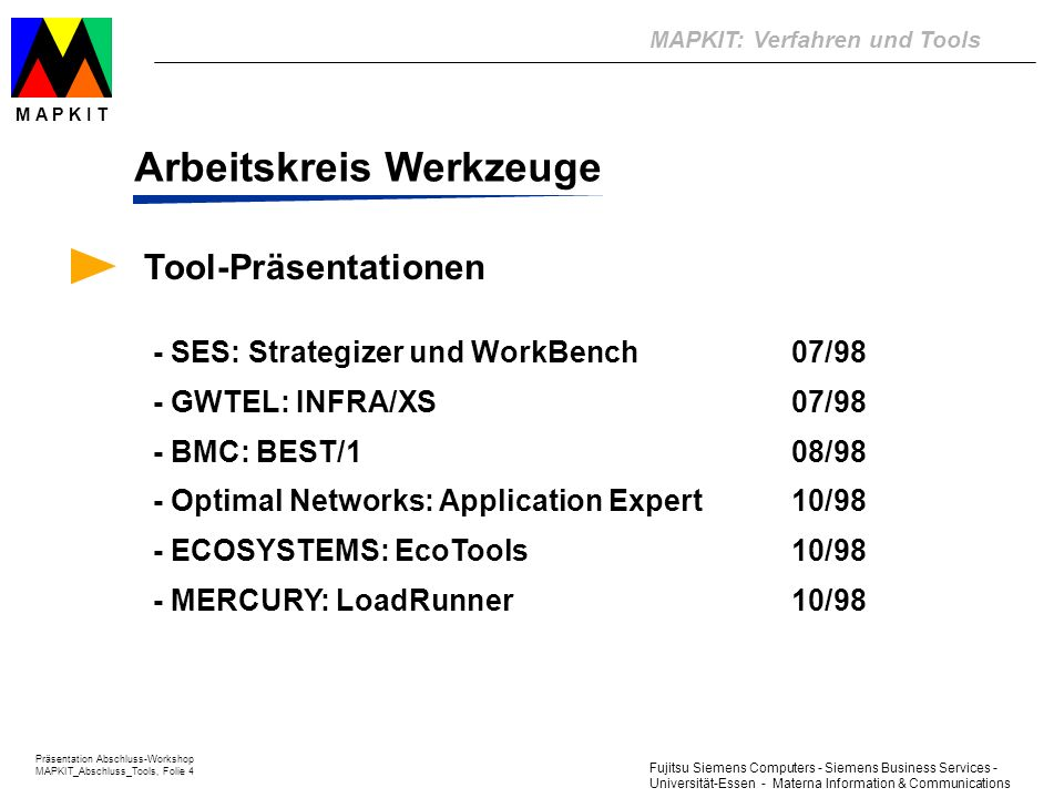 MAPKIT: Verfahren und Tools Präsentation Abschluss-Workshop MAPKIT_Abschluss_Tools, Folie 4 M A P K I T Fujitsu Siemens Computers - Siemens Business S