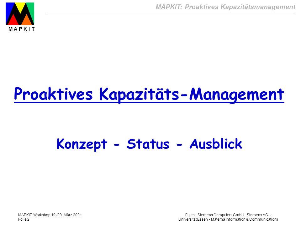 MAPKIT: Proaktives Kapazitätsmanagement M A P K I T Fujitsu Siemens Computers GmbH - Siemens AG – Universität Essen - Materna Information & Communications MAPKIT Workshop 19./20.