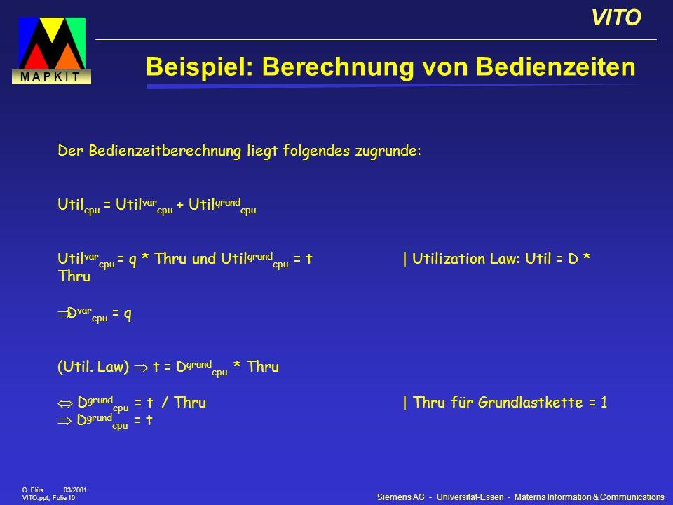 Siemens AG - Universität-Essen - Materna Information & Communications VITO C. Flüs 03/2001 VITO.ppt, Folie 10 M A P K I T Beispiel: Berechnung von Bed