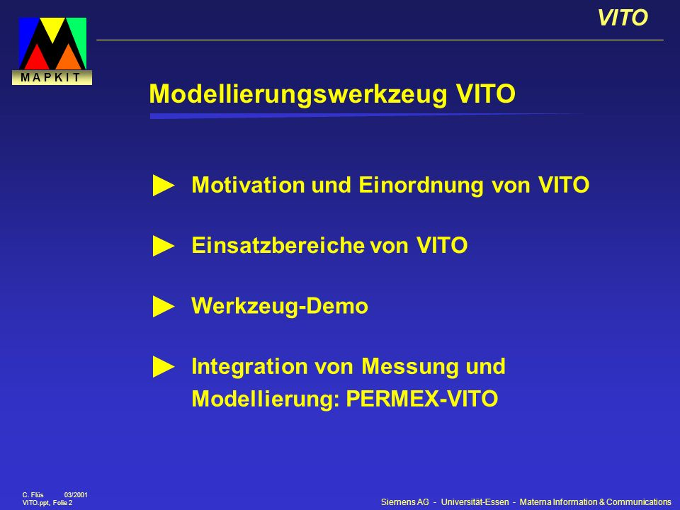 Siemens AG - Universität-Essen - Materna Information & Communications VITO C. Flüs 03/2001 VITO.ppt, Folie 2 M A P K I T Modellierungswerkzeug VITO Mo