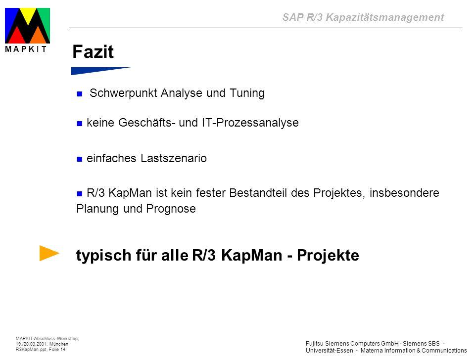Fujitsu Siemens Computers GmbH - Siemens SBS - Universität-Essen - Materna Information & Communications SAP R/3 Kapazitätsmanagement MAPKIT-Abschluss-Workshop, 19./20.03.2001, München R3KapMan.ppt, Folie 14 M A P K I T Fazit Schwerpunkt Analyse und Tuning keine Geschäfts- und IT-Prozessanalyse einfaches Lastszenario R/3 KapMan ist kein fester Bestandteil des Projektes, insbesondere Planung und Prognose typisch für alle R/3 KapMan - Projekte