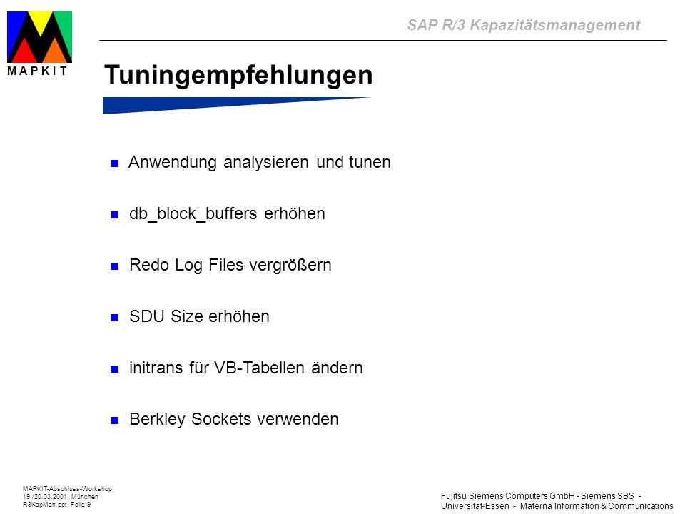 Fujitsu Siemens Computers GmbH - Siemens SBS - Universität-Essen - Materna Information & Communications SAP R/3 Kapazitätsmanagement MAPKIT-Abschluss-Workshop, 19./20.03.2001, München R3KapMan.ppt, Folie 10 M A P K I T Planung und Prognose Basismodellierung (IST-Situation) Erzeugung von Workloadprofilen aus den ATC-Profilen des R/3Live Monitors (WLPMaker) Modellerstellung auf Basis der Workloadprofile und Konfigurationsdaten Kalibrierung des Modells mit Hilfe der Performancekennzahlen Input-Daten von einem System mit Performanceproblemen !!