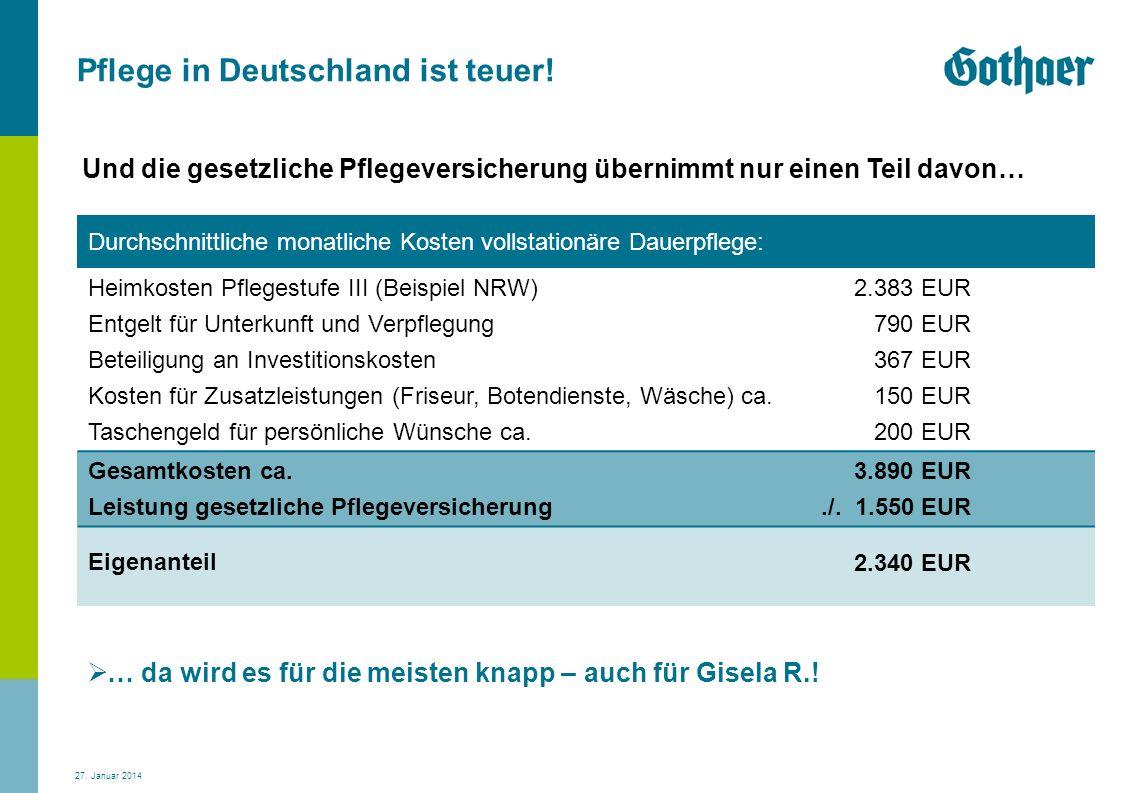 27. Januar 2014 Pflege in Deutschland ist teuer! … da wird es für die meisten knapp – auch für Gisela R.! Durchschnittliche monatliche Kosten vollstat