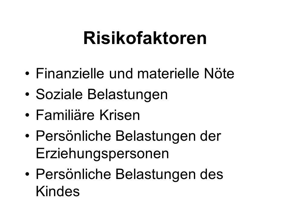 Risikofaktoren Finanzielle und materielle Nöte Soziale Belastungen Familiäre Krisen Persönliche Belastungen der Erziehungspersonen Persönliche Belastu