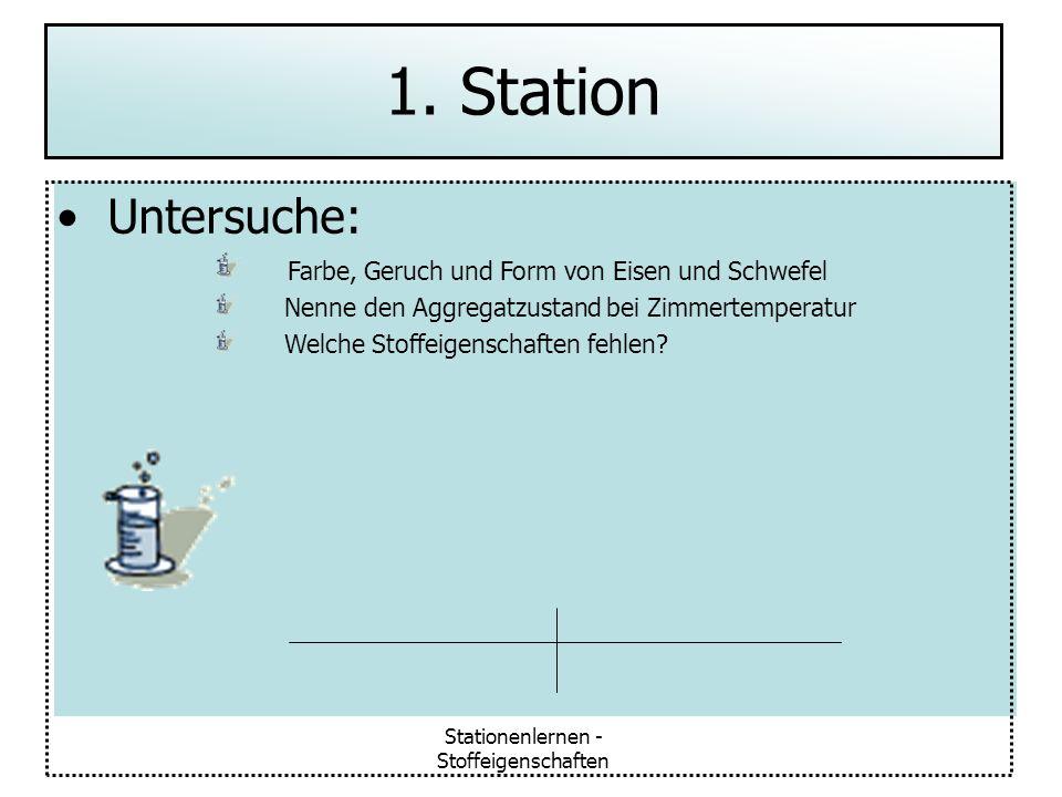 Stationenlernen - Stoffeigenschaften Untersuche: Farbe, Geruch und Form von Eisen und Schwefel Nenne den Aggregatzustand bei Zimmertemperatur Welche S