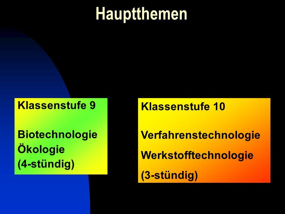 Hauptthemen Klassenstufe 9 Biotechnologie Ökologie (4-stündig) Klassenstufe 10 Verfahrenstechnologie Werkstofftechnologie (3-stündig)