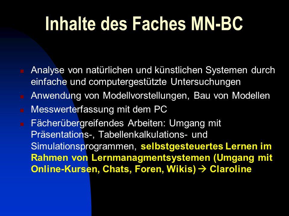 Inhalte des Faches MN-BC Analyse von natürlichen und künstlichen Systemen durch einfache und computergestützte Untersuchungen Anwendung von Modellvors