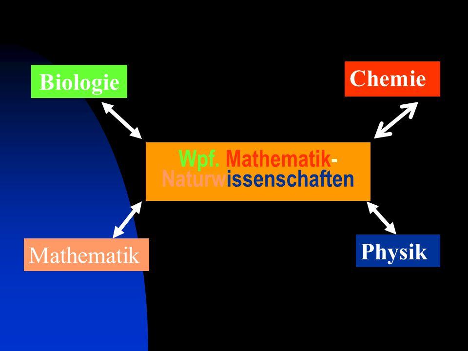 BiologieChemiePhysikMathematik Boden Luft oder Atmosphäre Energie Wasser oder Binnengewässer Wahlpflichtfach Mathematik-Naturwissenschaften