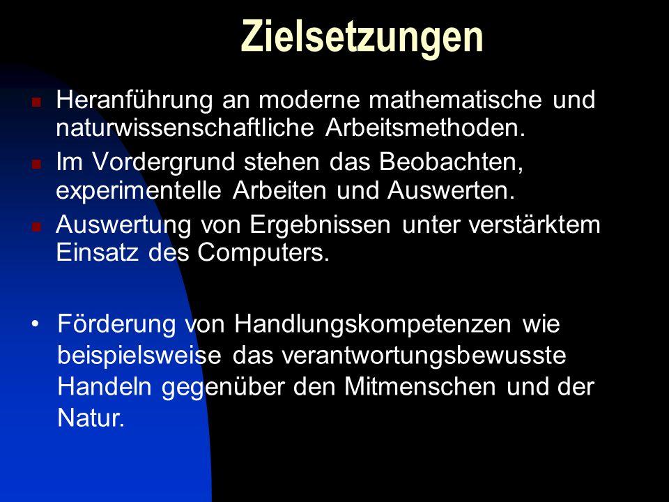 Zielsetzungen Heranführung an moderne mathematische und naturwissenschaftliche Arbeitsmethoden. Im Vordergrund stehen das Beobachten, experimentelle A