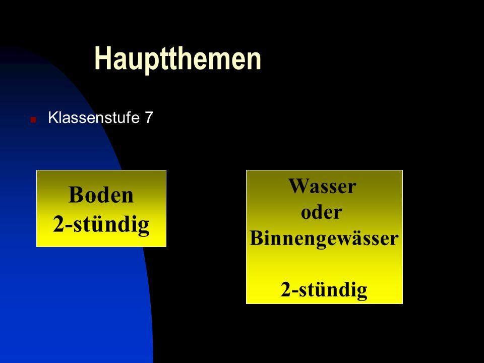 Hauptthemen Klassenstufe 7 Boden 2-stündig Wasser oder Binnengewässer 2-stündig