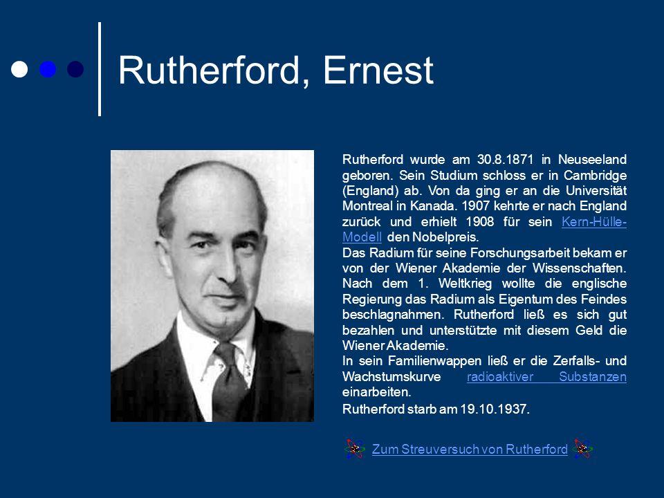 Rutherford, Ernest Rutherford wurde am 30.8.1871 in Neuseeland geboren.