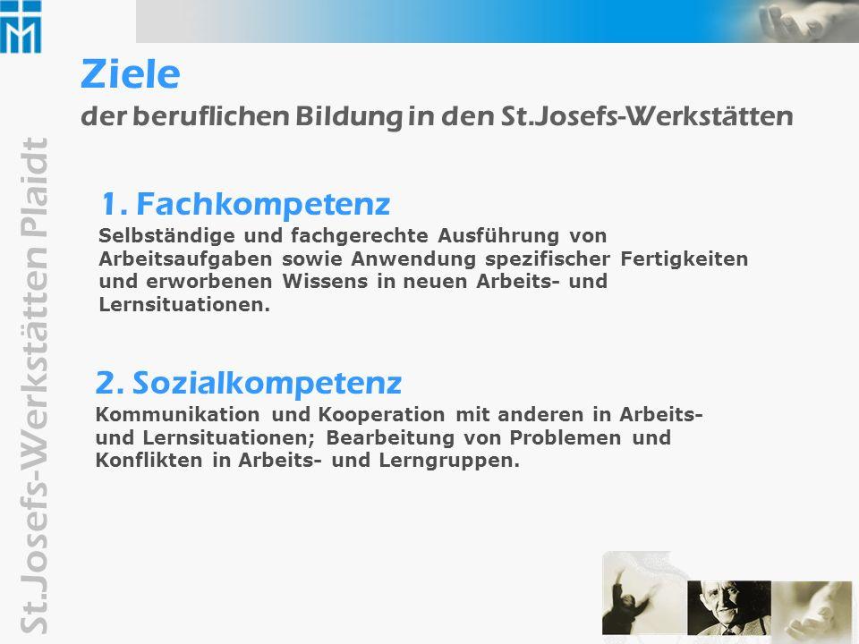 St.Josefs-Werkstätten Plaidt Zusammenfassung Berufliche Bildung als werkstattweite Querschnittsaufgabe......