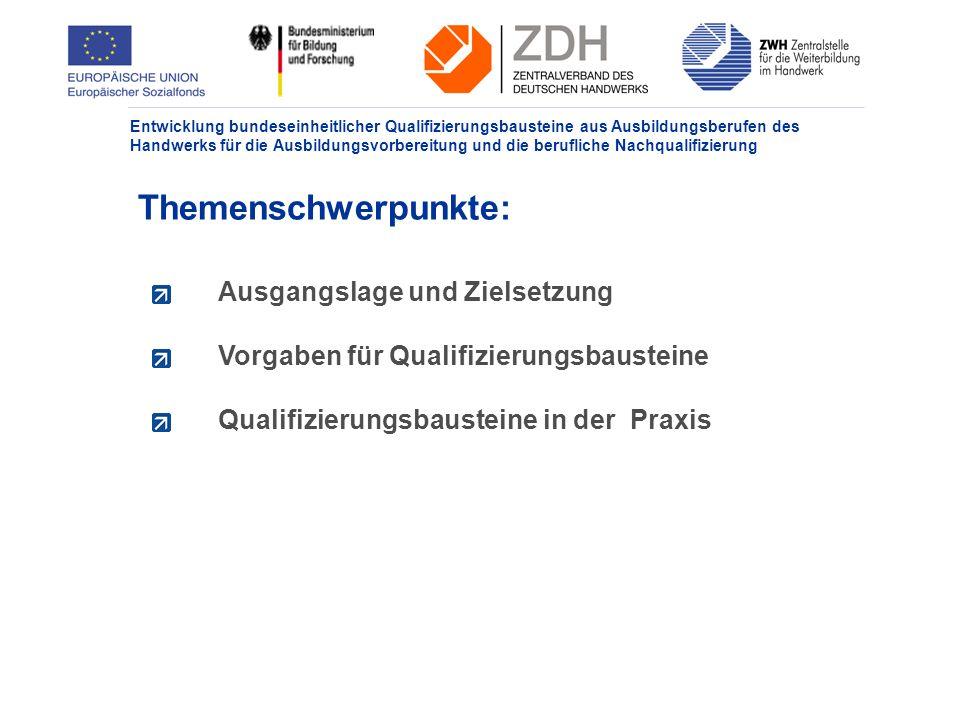 Entwicklung bundeseinheitlicher Qualifizierungsbausteine aus Ausbildungsberufen des Handwerks für die Ausbildungsvorbereitung und die berufliche Nachqualifizierung Ausgangslage: Grundprobleme Ca.