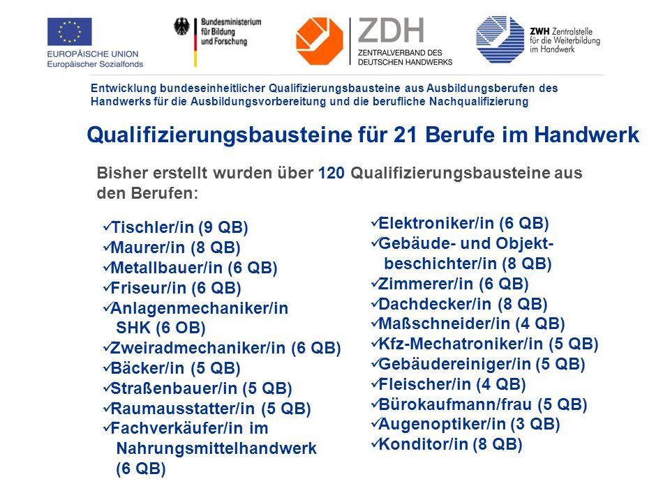 Entwicklung bundeseinheitlicher Qualifizierungsbausteine aus Ausbildungsberufen des Handwerks für die Ausbildungsvorbereitung und die berufliche Nachqualifizierung Vorgaben für das Qualifizierungsbild Gemäß § 3 Abs.2 - Anlage 1 enthält das Qualifizierungsbild die folgenden Angaben: 1.