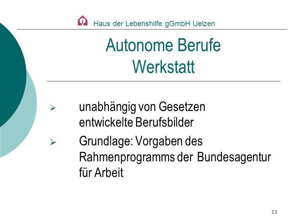 11 unabhängig von Gesetzen entwickelte Berufsbilder Grundlage: Vorgaben des Rahmenprogramms der Bundesagentur für Arbeit Autonome Berufe Werkstatt Hau