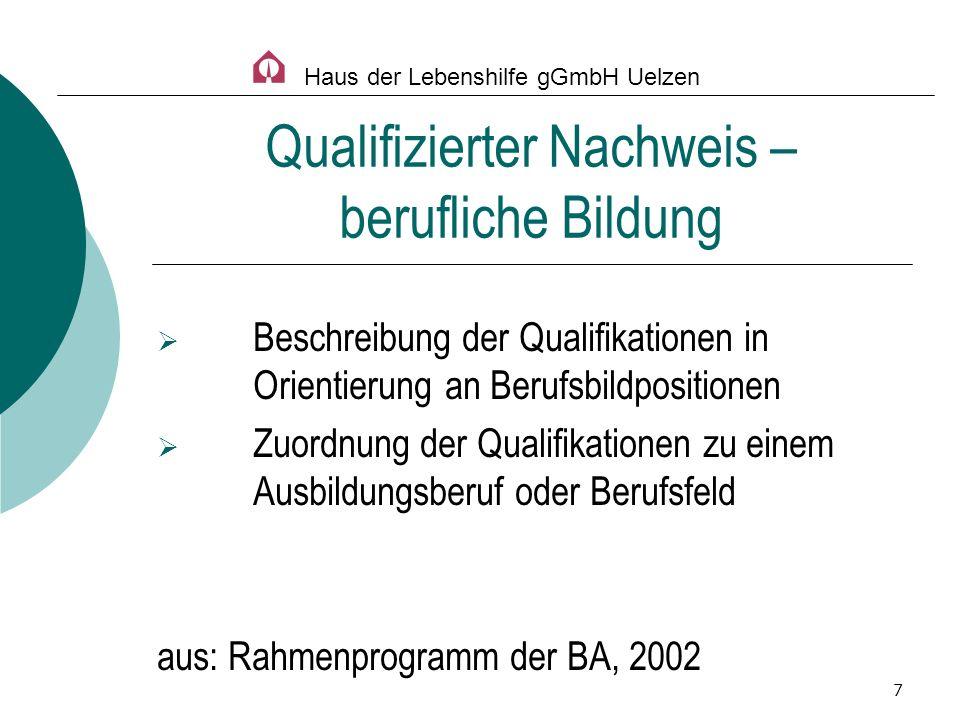 7 Beschreibung der Qualifikationen in Orientierung an Berufsbildpositionen Zuordnung der Qualifikationen zu einem Ausbildungsberuf oder Berufsfeld aus