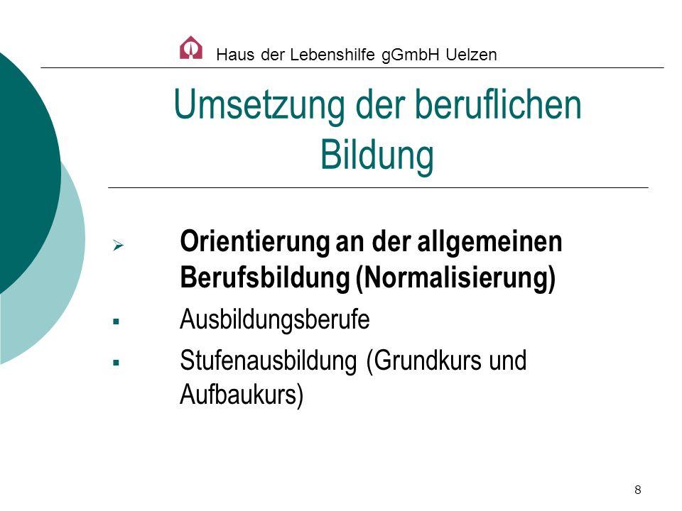 8 Orientierung an der allgemeinen Berufsbildung (Normalisierung) Ausbildungsberufe Stufenausbildung (Grundkurs und Aufbaukurs) Umsetzung der beruflich