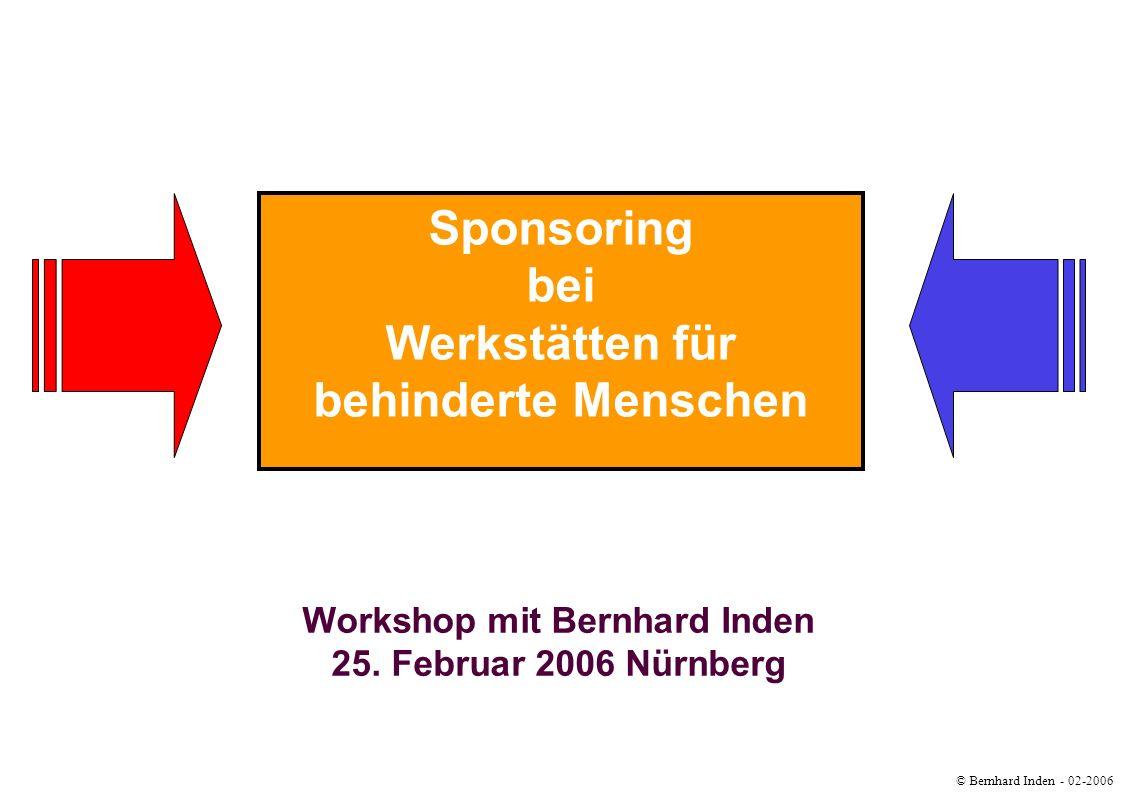 © Bernhard Inden - 02-2006 Sponsoring Werkstätten Zielsetzung Abgrenzung zwischen Sponsoring und Fundraising erkennen Funktionalität von Kooperationen zwischen Werkstätten und Unterstützern Verortung Ihrer Potentiale Erwartungen von Sponsoren