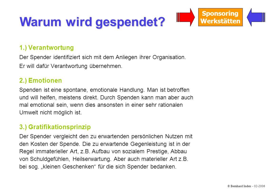 © Bernhard Inden - 02-2006 Sponsoring Werkstätten 1.) Verantwortung Der Spender identifiziert sich mit dem Anliegen ihrer Organisation. Er will dafür