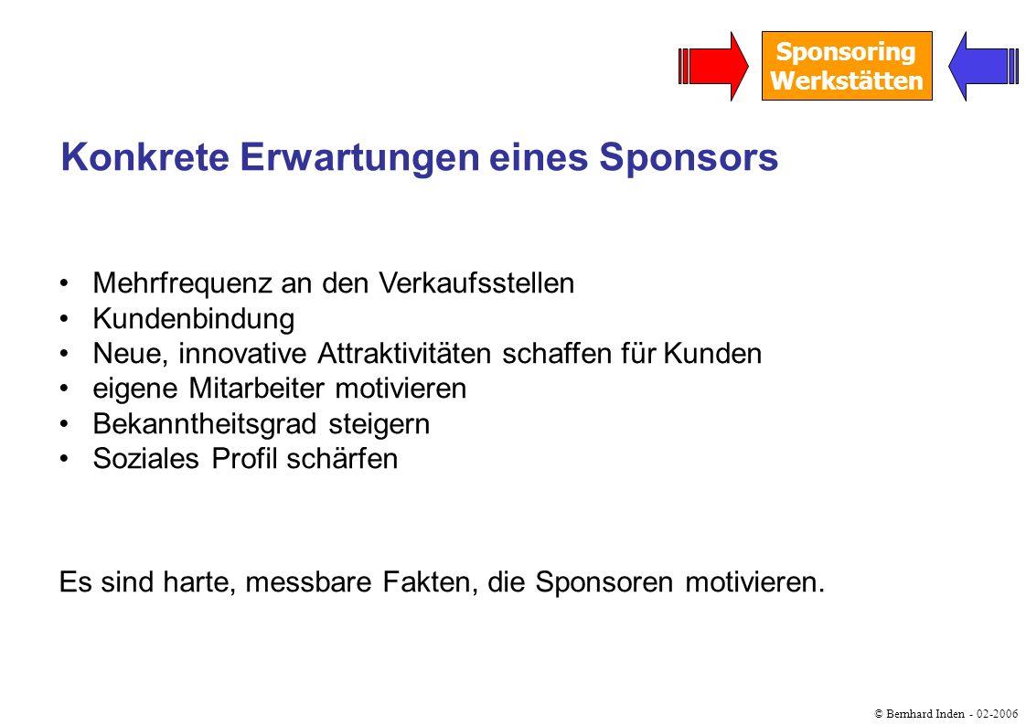 © Bernhard Inden - 02-2006 Sponsoring Werkstätten Mehrfrequenz an den Verkaufsstellen Kundenbindung Neue, innovative Attraktivitäten schaffen für Kund