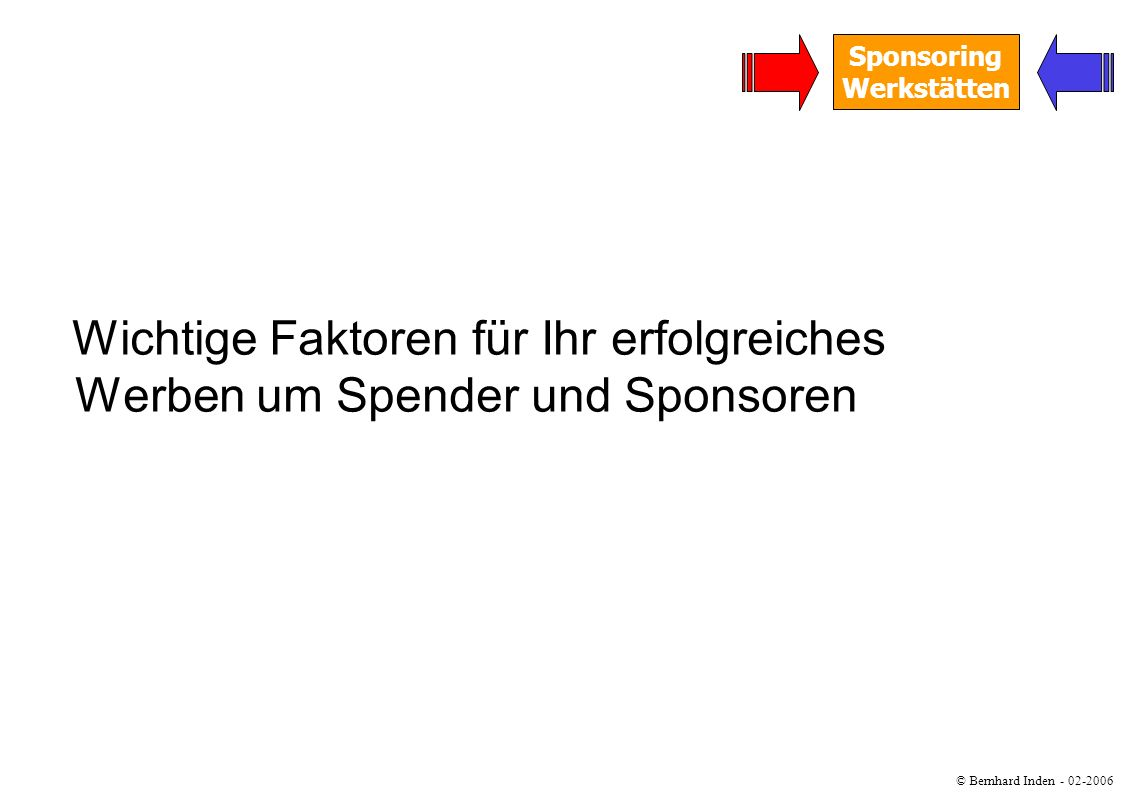 © Bernhard Inden - 02-2006 Sponsoring Werkstätten Wichtige Faktoren für Ihr erfolgreiches Werben um Spender und Sponsoren