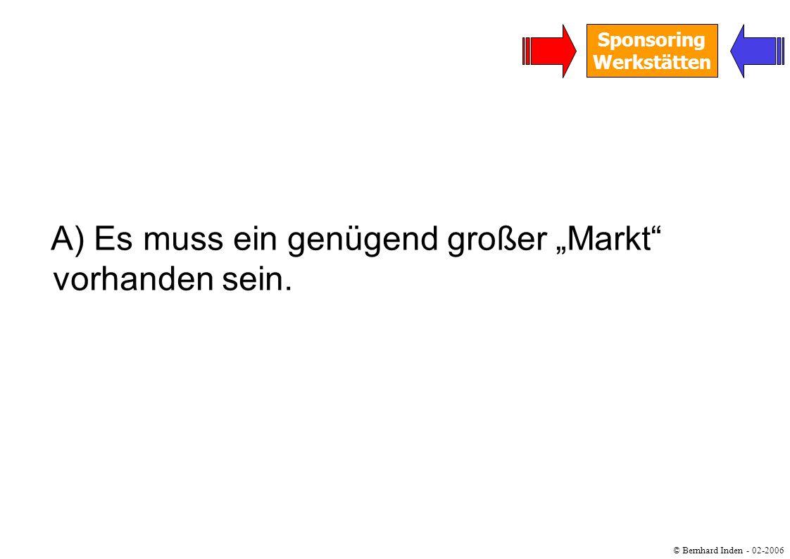 © Bernhard Inden - 02-2006 Sponsoring Werkstätten A) Es muss ein genügend großer Markt vorhanden sein.