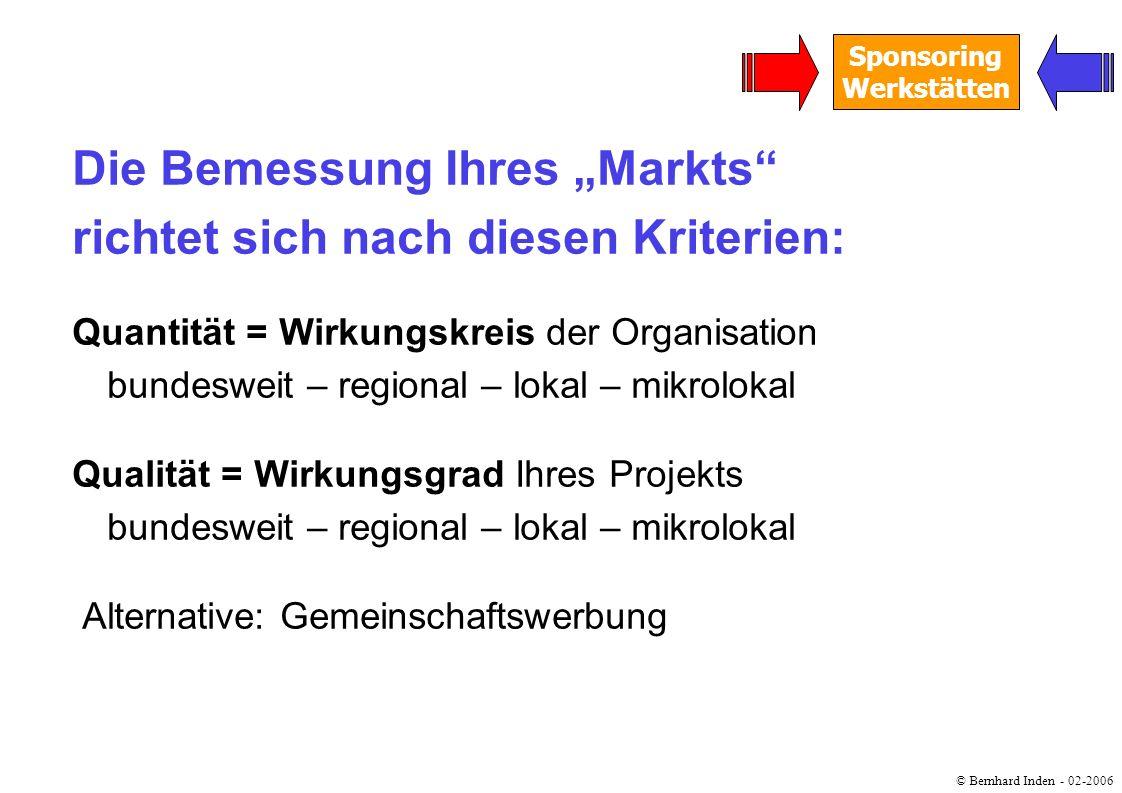 © Bernhard Inden - 02-2006 Sponsoring Werkstätten Die Bemessung Ihres Markts richtet sich nach diesen Kriterien: Quantität = Wirkungskreis der Organis
