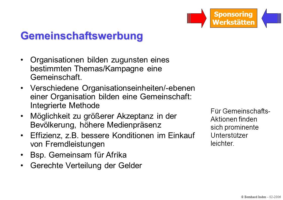 © Bernhard Inden - 02-2006 Sponsoring Werkstätten Organisationen bilden zugunsten eines bestimmten Themas/Kampagne eine Gemeinschaft. Verschiedene Org