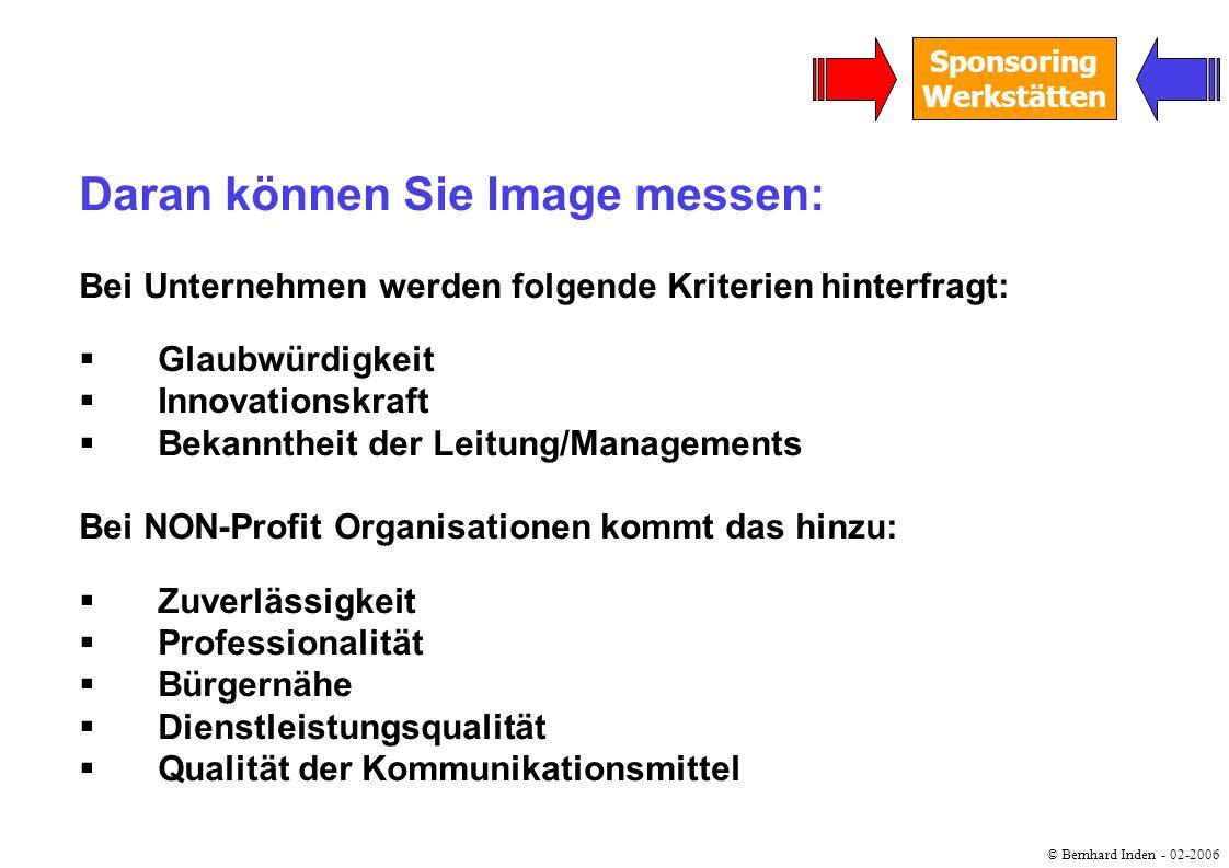 © Bernhard Inden - 02-2006 Sponsoring Werkstätten Daran können Sie Image messen: Bei Unternehmen werden folgende Kriterien hinterfragt: Glaubwürdigkei