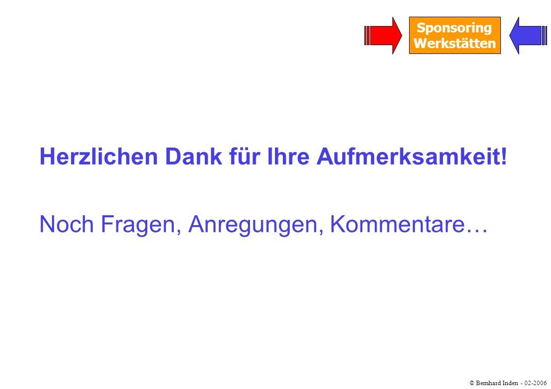 © Bernhard Inden - 02-2006 Sponsoring Werkstätten Herzlichen Dank für Ihre Aufmerksamkeit! Noch Fragen, Anregungen, Kommentare…