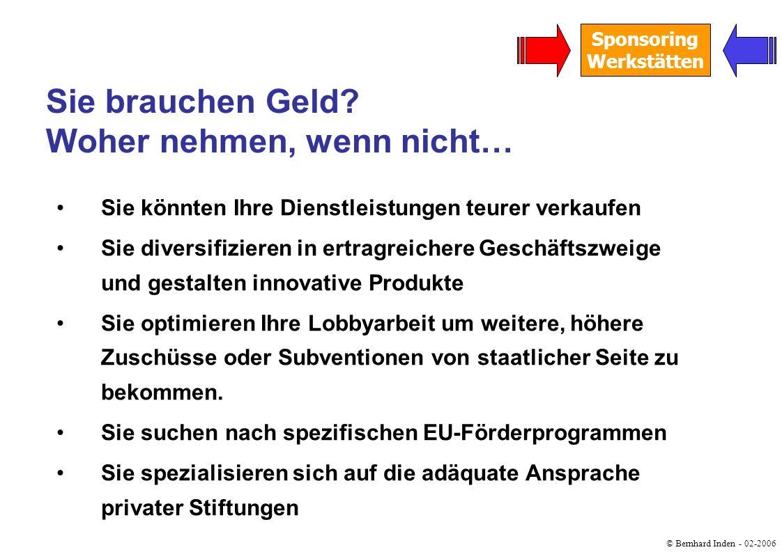 © Bernhard Inden - 02-2006 Sponsoring Werkstätten Sie suchen den Kontakt zu Unternehmen: Sponsoring Sie suchen ihr Potential im privatem Spendenmarkt: Fundraising Sie brauchen Geld.