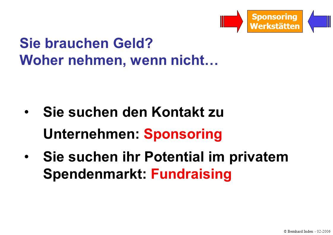 © Bernhard Inden - 02-2006 Sponsoring Werkstätten Sie suchen den Kontakt zu Unternehmen: Sponsoring Sie suchen ihr Potential im privatem Spendenmarkt: