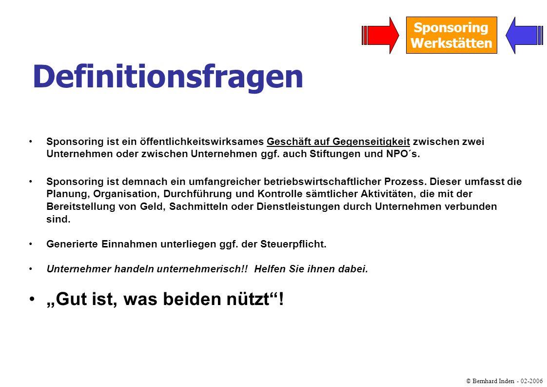 © Bernhard Inden - 02-2006 Sponsoring Werkstätten Fundraising umfasst die Beschaffung von benötigten Ressourcen, ohne dass die Non- Profit-Organisation (NPO) dafür eine marktadäquate Gegenleistung erbringen muss.