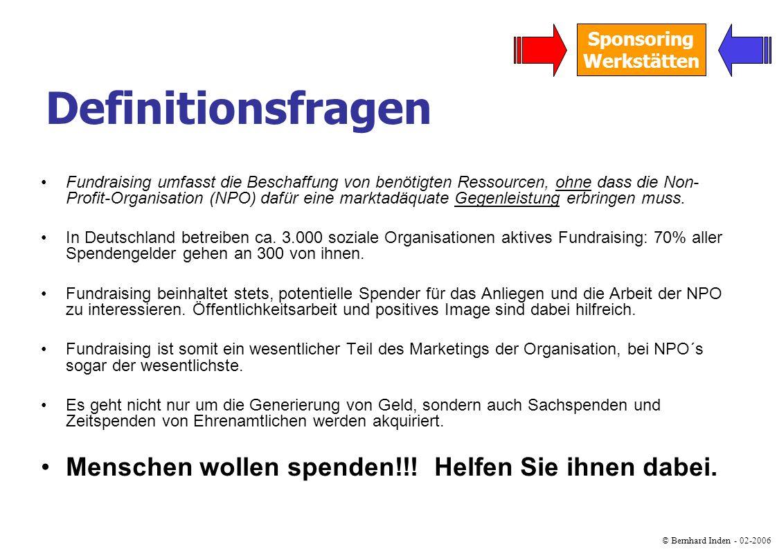 © Bernhard Inden - 02-2006 Sponsoring Werkstätten Spenden … sind freiwillige Leistungen, die ohne Gegenleistung, aber häufig mit einer Zweckbestimmung gegeben werden.