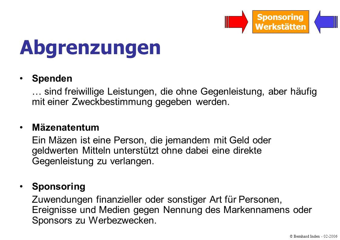 © Bernhard Inden - 02-2006 Sponsoring Werkstätten Spenden … sind freiwillige Leistungen, die ohne Gegenleistung, aber häufig mit einer Zweckbestimmung