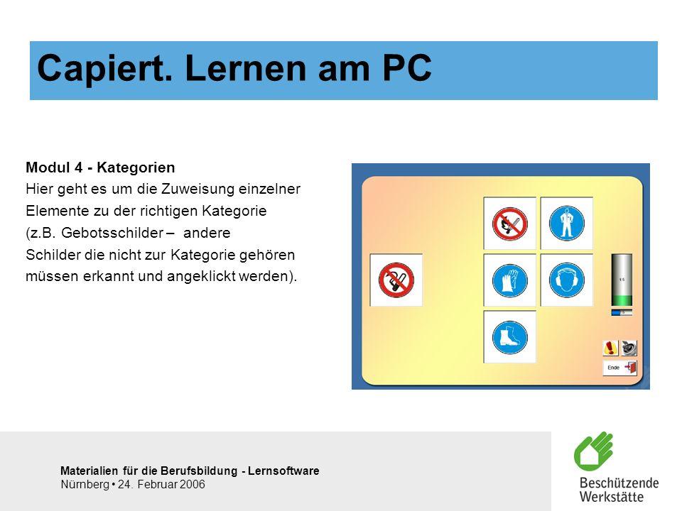 Materialien für die Berufsbildung - Lernsoftware Nürnberg 24. Februar 2006 Modul 4 - Kategorien Hier geht es um die Zuweisung einzelner Elemente zu de