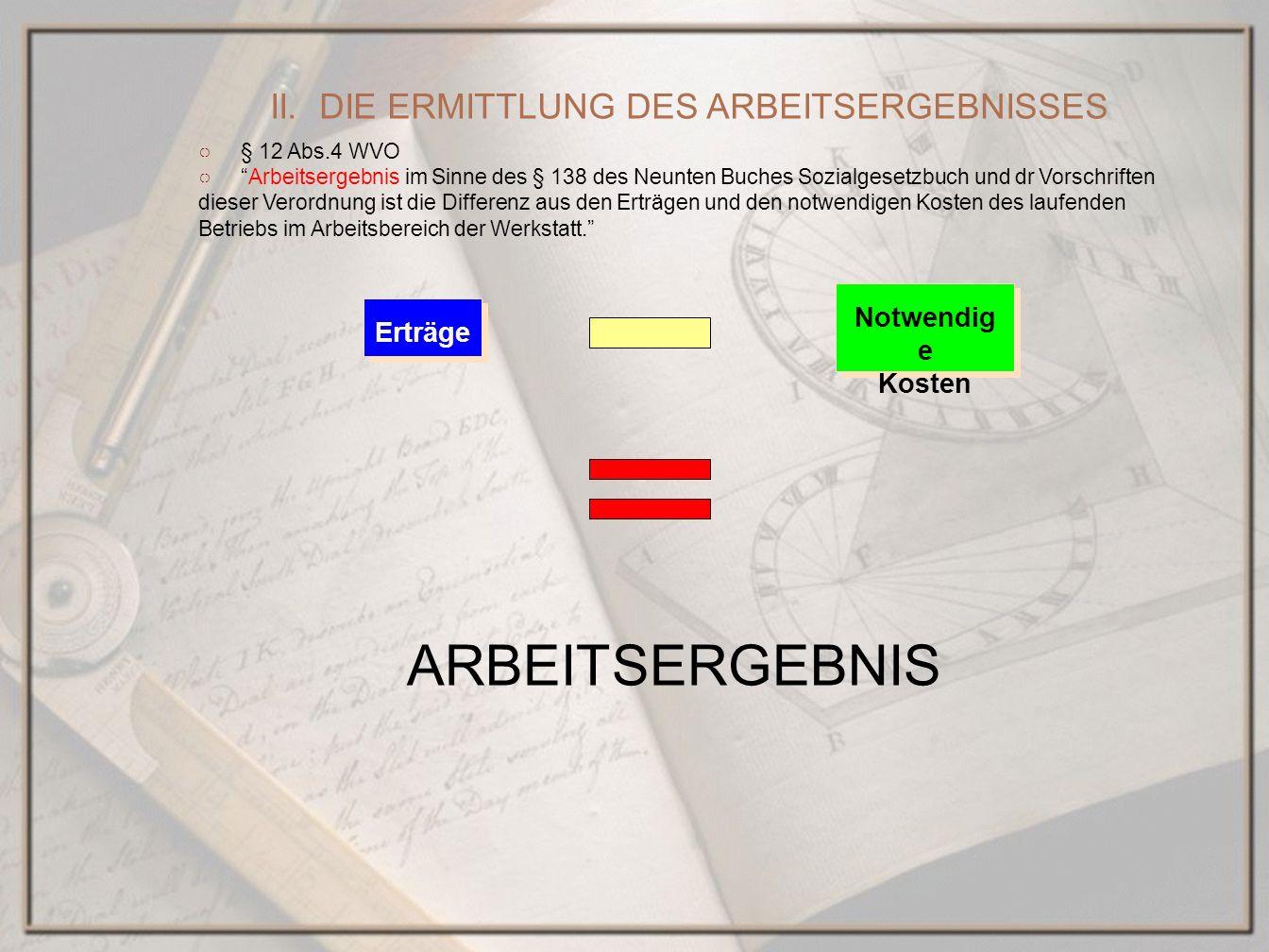 § 12 Abs.4 WVO Arbeitsergebnis im Sinne des § 138 des Neunten Buches Sozialgesetzbuch und dr Vorschriften dieser Verordnung ist die Differenz aus den