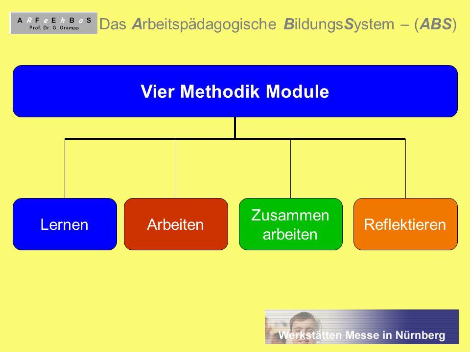 3 Das Arbeitspädagogische BildungsSystem – (ABS) Vier Methodik Module LernenArbeiten Zusammen arbeiten Reflektieren
