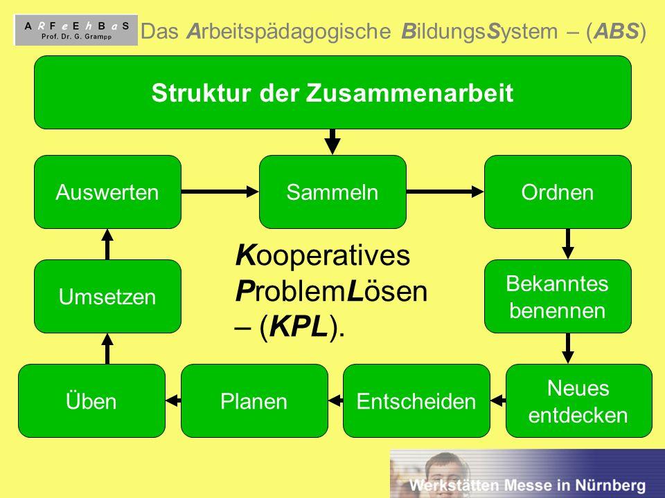 6 Das Arbeitspädagogische BildungsSystem – (ABS) Struktur der Zusammenarbeit AuswertenSammelnOrdnen Bekanntes benennen Neues entdecken EntscheidenÜben