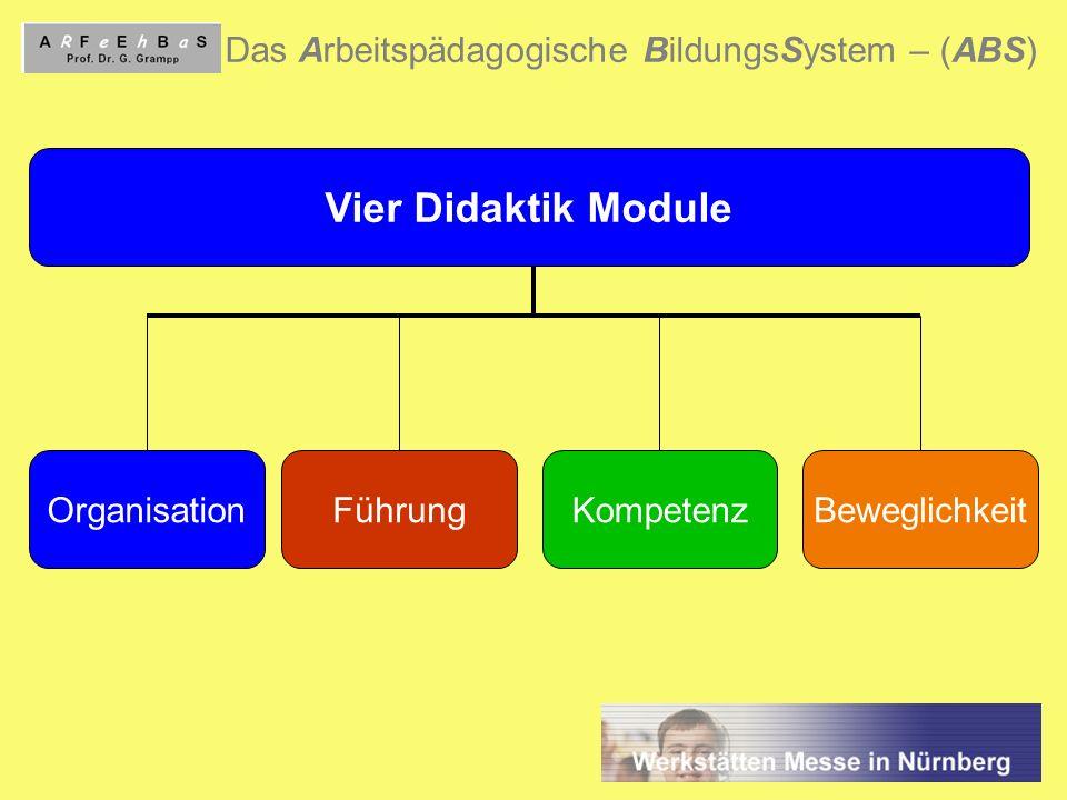 8 Das Arbeitspädagogische BildungsSystem – (ABS) Vier Didaktik Module OrganisationFührungKompetenzBeweglichkeit